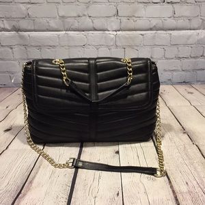"""Talbots black """"quilted"""" leather convertible bag"""